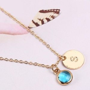 Jewelry - Gold Letter S Initial Blue CZ Pendant Necklace